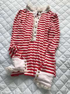 Red and white Striped top with lace