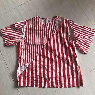 Candy Cane Blouse with Cut-Outs