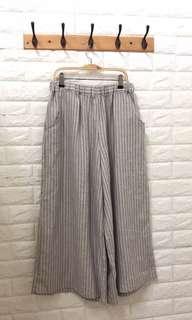 🚚 條紋麻料寬褲