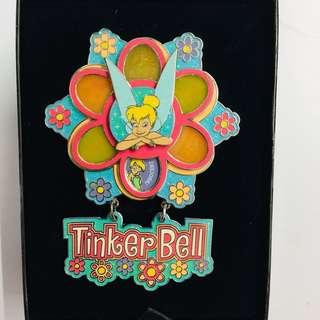 美國迪士尼 Disney tinkerbell 小叮噹 花形 轉轉 Jumbo 珍寶 限量 LE 750 pin 襟章 徽章