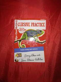 Cursive Practice erasable activity book