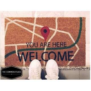 INSTOCK Welcome Map Coir Home Door Mat Outdoor Carpet Rug