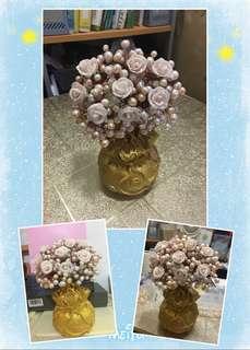 天然淡水珍珠花開富貴發財樹