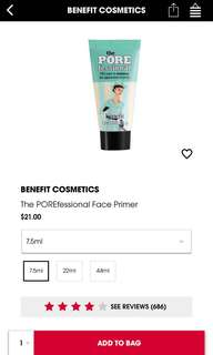🚚 Benefit POREfessional Face Primer (7.5ml)
