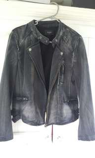 Brand New Decjuba Distressed Denim Biker Jacket