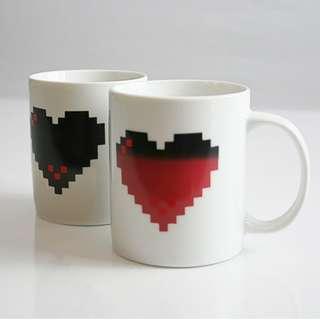 Pixel Heart Change Colour Mug