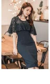 Black lace Ruffle Elegant Dress
