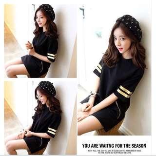 🚚 Korean Black Dress With Gold Stripes