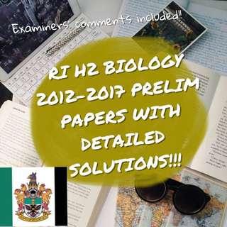 RI H2 Biology Prelims 2012-2017