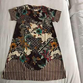 Dress terusan batik modern bigsize jumbo melar adem