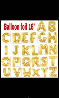 "Gold alphabet foil balloon 16"" (40cm)"