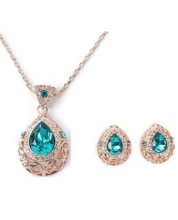 Diamond Gold Blue Crystal necklace & earring SET