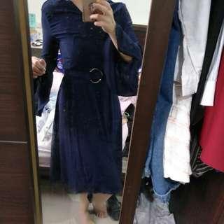 🚚 藍色長洋裝