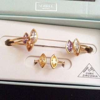 Soirée Montreal Cubic Zirconia Hand Set Bracelets And Ring 首飾套裝 彩石手鐲連戒指 購自免稅店