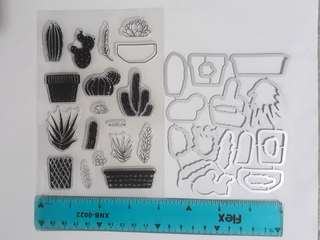 Cactus Stamps & Cutting Dies Set For Crafts, Cardmaking, Scrapbooking