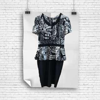 Bebe Formal Black & White Dress