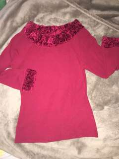 Red furry long sleeves