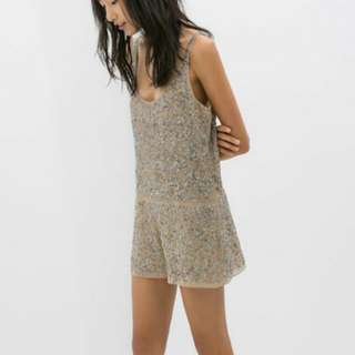 Zara beaded and sequined romper short