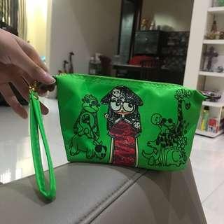Green makeup pouch