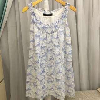 Zara dress bunga biru