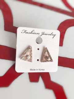 🚚 全新韓版玫瑰金鑽石耳環
