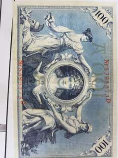 Germany 100 bank note from 1908