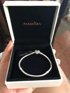 Authentic Pandora Moments Silver Bracelet with Pave Heart Clasp
