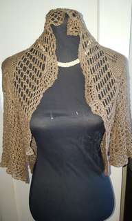 BLAZER bolero crochet brown with glitery accent for ladies freesize