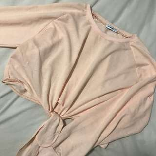 valleygirl thin cropped pink sweater
