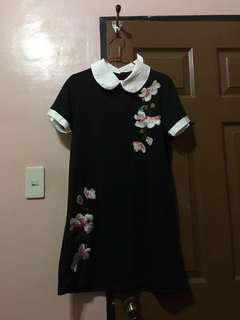 Embroidered Flower Dress with Peter Pan Collar