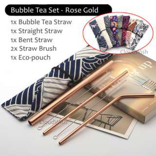 [Clearing Stock!] Pretty Straw Set w/ Brush & Pouch (Rose Gold, Gold, Black, Silver) Gift Set