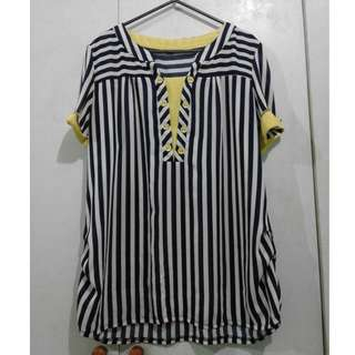 Yellow and Blue-striped blouse