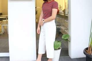 White kulot pants