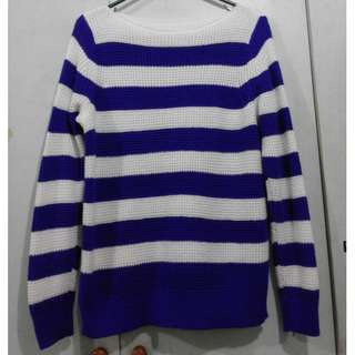 Blue and White Striped Knitted Sweater