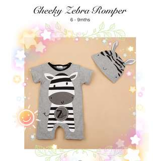 👶🏻 6-9M CHEEKY ZEBRA ROMPER JUMPSUIT WITH HAT BABY CLOTHING KIDS CASUAL