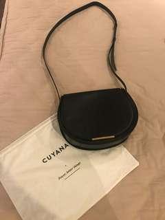 Cuyana Classic Black Saddle Bag