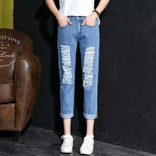 TATTERED BF JEANS EO