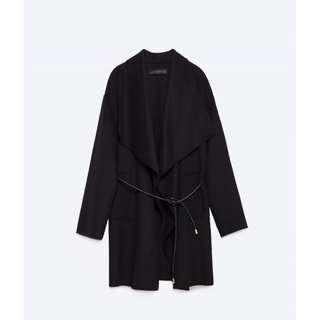 Zara Black Waterfall Handmade Wool Coat Jacket Belt Size M AU 10 36-38 RRP $259