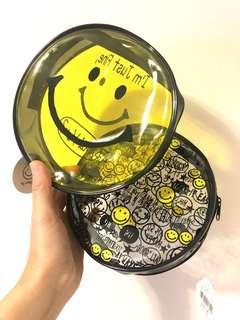 日本 Smiley Face 防水 透明 圓形 收納袋 哈哈笑 笑哈哈 笑臉 Smile Harvey Ball