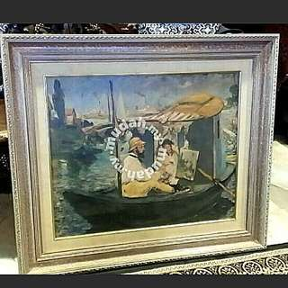 Vintage Artagraph Oil  Painting With Stamping Comes With Thick Wood Frame