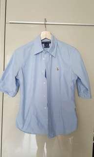 Ralph Lauren 淺藍中䄂恤衫(近乎全新8號碼)
