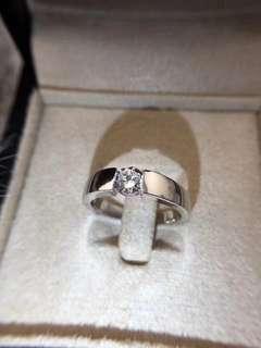 超閃1卡男裝925純銀6層包金簡約十心十箭高炭鑽戒指,可訂造任何圈碼