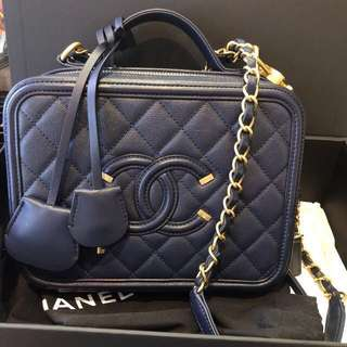 Chanel vanity case 21cm navy medium size