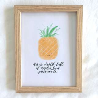 Pineapple print, calligraphy, typo, frame