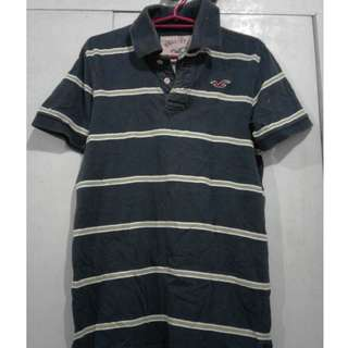 Hollister Green Striped Polo