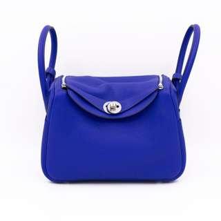 (NEW) HERMES LINDY TAURILLON CLEMENCE 26 SHOULDER BAG PHW 全新 愛瑪手袋 藍色 銀扣 包包