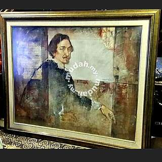 Impressive huge vintage print With Thick wooden frame