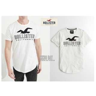 美國帶回真品A&F副牌HCO Hollister co. Logo Graphic Tee美式海鷗字母貼布短T-白色