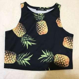 Romwe Pineapple Crop Top