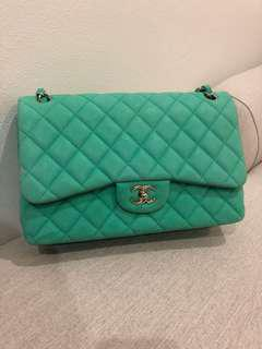Authentic Chanel green suede caviar classic jumbo double flap bag